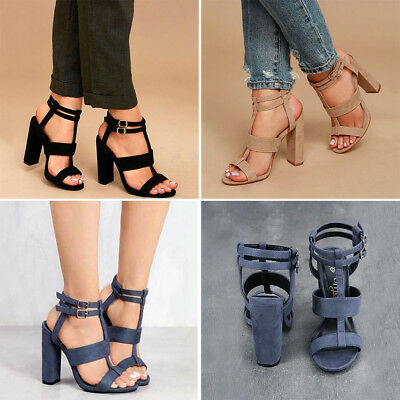 055a446516e Womens Ladies Ankle Strap Platform Chunky Block High Heels Party Sandals  Shoes