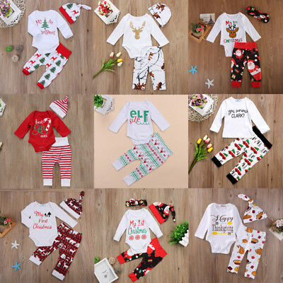 My First Christmas Infant Baby Girl Santa Cotton Tops Sequined Pants Outfits Set