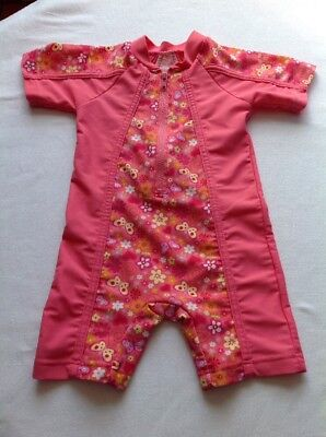 Girls Age12-18 Months Swim Sun Suit Pink Butterfly And Flower Design