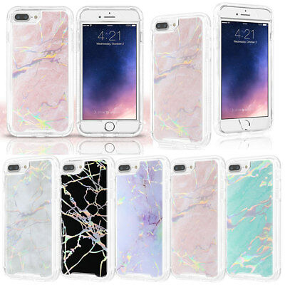 360°Full Body Shockproof Protection Marble Pattern Case Cover For iPhone Samsung