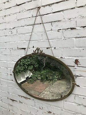 Brass Framed Antique Mirror Art Deco Mirror Crested Mirror 1920s Mirror Oval