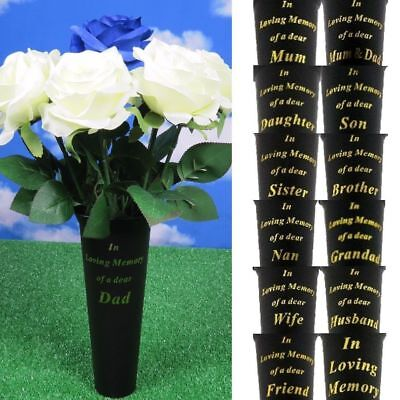 2 X Memorial Black Grave Vase Spike PICK YOUR OWN Funeral Flower FREE Card Pick
