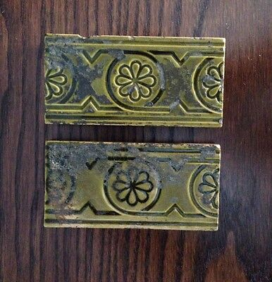 Antique Minton Hollins & Co. Glazed Ceramic Fireplace Tiles. English. A Pair.