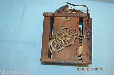 ANTIQUE Black Forest 1870s CUCKOO WOODEN PLATES CLOCK MOVEMENT BEHA for parts