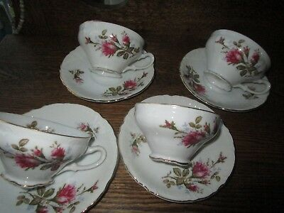 set of 4 Royal Rose Cups and saucers by Fine China Japan