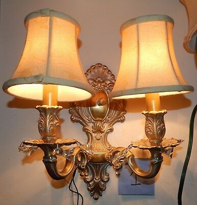 Pair Of Antique Gold & White Wall Sconces With Prisms And Shades Very Beautiful