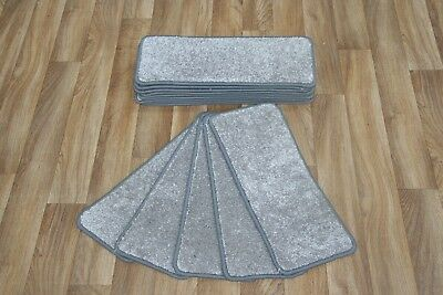 14 Open Plan Carpet Stair Treads Quality Aria Grey Pads! 14 Large Pads!