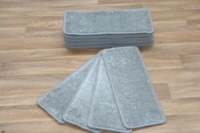 14 Open Plan Carpet Stair Treads Quality Amour Grey 0940 Pads! 14 Large Pads!