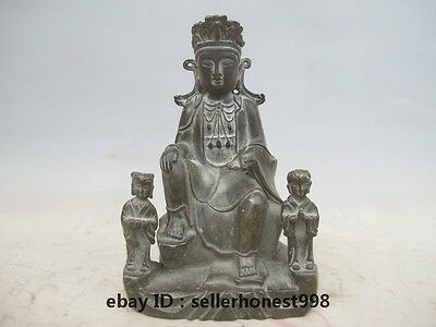 Tibet Buddhism Boy and girl Kwan-Yin Bodhisattva old Bronze Copper Statue