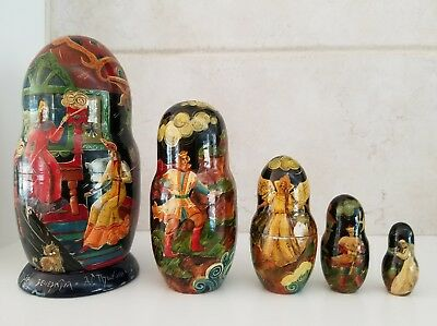 5 piece Beautiful Signed Russian Stacking Nesting Hand Painted Lacquered rare