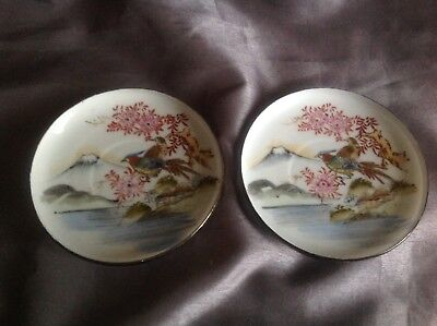 Pair Of Stunning Japanese Bouque China Handpainted Saucers