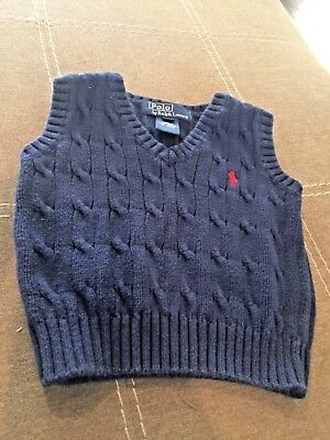 Polo Ralph Lauren Boys Navy Blue Sweater Vest 12 M Red Pony Cable