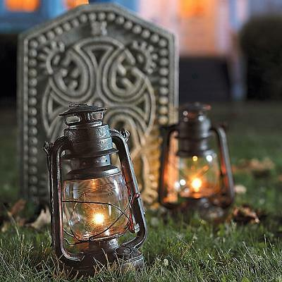 Metal Glass Set of (2) LED Battery Hurricane Lanterns Halloween Yard Party Props