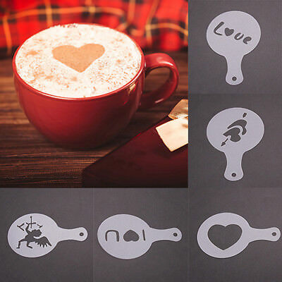 DR7 8Pcs Coffee DIY Decor Barista Stencils Pad Duster Spray Garland Mould Dreame