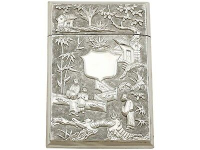 Antique Chinese Export Silver Card Case Circa 1870
