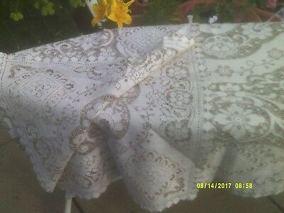 """Vintage Madeira Lace Tablecloth 60"""" X 90""""  Used"""