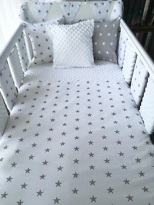Handmade Baby Quilt Cot And Cot Bed Size White with Grey Stars & White Dimple