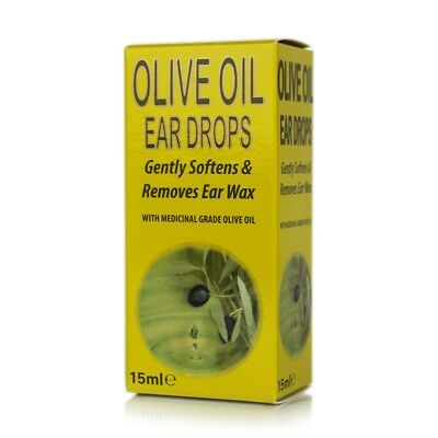 4 x Medicinal Grade OLIVE OIL SOFTEN EAR WAX DROPS LARGE Size 15ml
