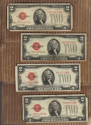 One 1928 $2 Two Dollar Red Seal Small Size US Legal Tender Note Bill Paper Money