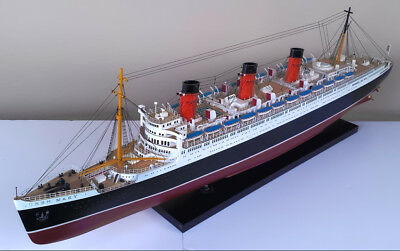 RMS Queen Mary Cunard Line Ocean Liner Wooden Ship Wood Boat Model