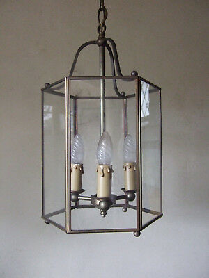 Large Antique Vintage French Brass & Glass  Lantern Chandelier  Hall Light