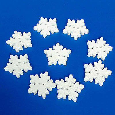 Dr7 100/50Pcs Christmas Wooden Snowflakes Buttons For Scrapbooking Craft Ornate
