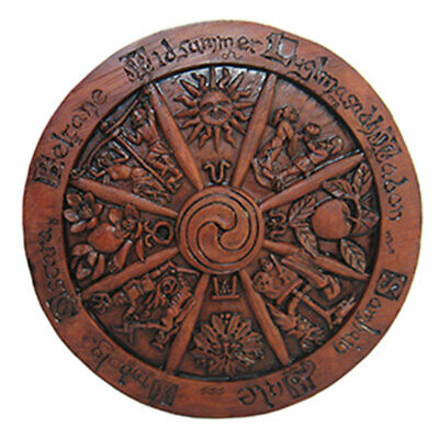 NEW Small Wheel of the Year Plaque Dryad Design Paul Borda Wood Color Altar Tile