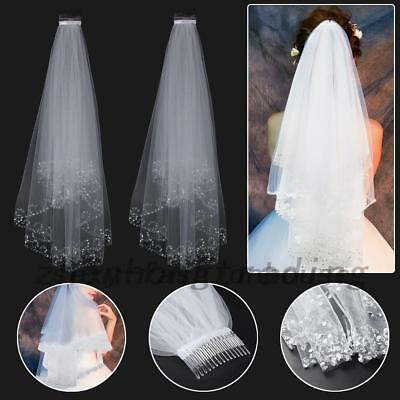 Beautiful 2T White Ivory Sequins Beaded Edge Wedding Bridal Elbow Veil IN STOCK