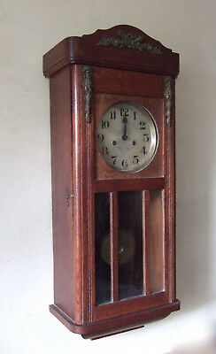 ANTIQUE  FRENCH OAK CASED with ormolu WALL CLOCK CIRCA 1920 ALL GOOD