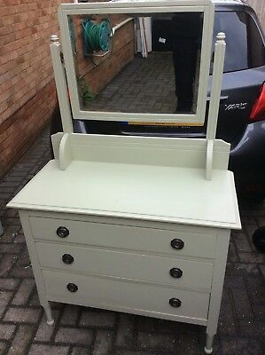 Beautiful Edwardian Upcycled Dressing Table/Chest of Drawers in Vintage Green
