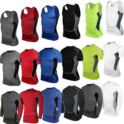 Men Compression Under Basic Layer Top Running Gym Athletic Casual T-Shirt Vest L
