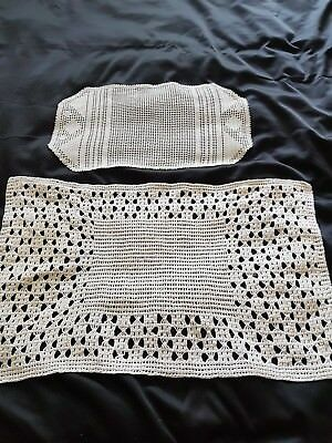 2 vintage hand crochet  tray cloths/mats
