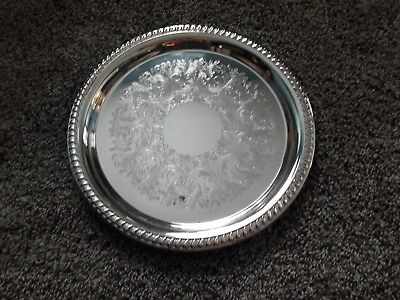 """VINTAGE SILVERPLATE Round Tray Sheridan Silver Co. 12"""""""