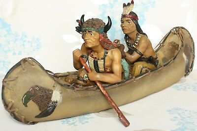 Rawhide Canoe with 2 hand painted North American Indians Resin Figures Ornament
