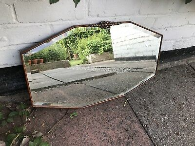Antique Wooden Bevelled Mirror Vintage Old Mirror Copper Crested