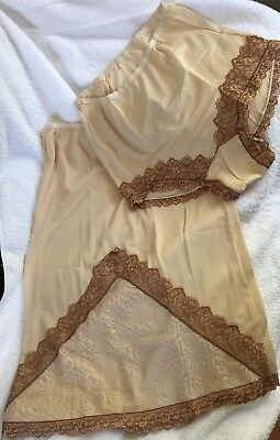 Vintage 60s Panties & Slip Acetate L Beige Bronze New Old Stock USA Offers!