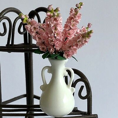 Dollhouse Miniature Pink Stock Flowers In  Vase Artist Made