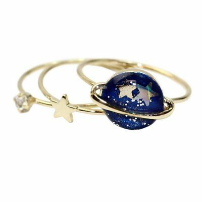 3Pcs Cute Blue Star Planet Saturn 13mm Joint Ring Set Women Party Jewelry Gift