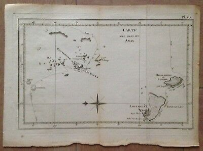 FRIENDLY ISLANDS TRAVEL OF COOK XVIIIe CENTURY ANTIQUE COPPER ENGRAVED MAP