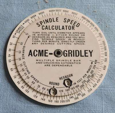 1931 Acme-Gridley Spindle Speed Calculator/ Production Estimator