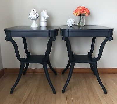 Pair Nightstands End Tables Refinished Antique Mahogany Leather Top