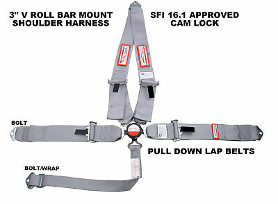 "Sfi 16.1 Racing Harness 5 Point V Roll Bar Mount 3"" Cam Lock Gray Or Any Color"