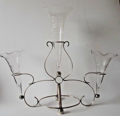 Old silver-plated tall epergne 3-branch engraved glass flower vases