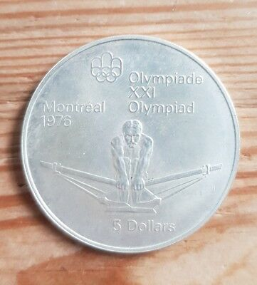 Medaille Silber 5 Dollar Montreal Olympic Games Kanada 1976 1974 Olympiade