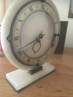 Art Deco Smiths Onyx 8 Day Mantel Clock