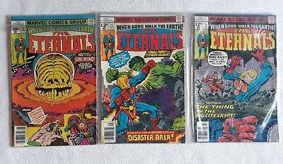 3 Issues 1977 VG - F THE ETERNALS JACK KIRBY BRONZE AGE MARVEL COMICS