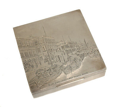 Gianmaria Buccellati Sterling Silver Engraved Box, Cityscape of  Hong Kong