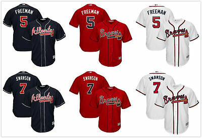 best service fd53c 6b8b0 MEN'S 2019 ATLANTA Braves Cool Base Jersey #5 Freeman #7 Swanson  White/Red/Navy
