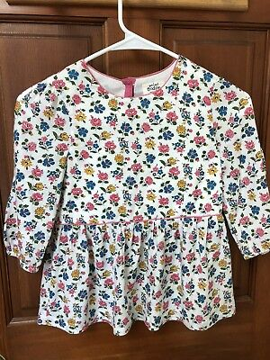 Mini Boden Pink Floral 3/4 Sleeve Blouse Girls Shirt 6-7 Made in India