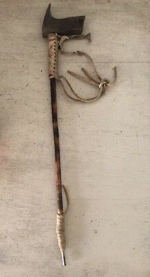 "Vintage Antique Handmade Native American Indian 18"" Smoking Pipe Art Leather"